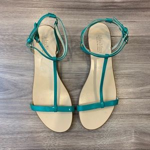 Max Mara Teal Green Patent Leather T Strap Sandals